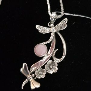 Jewelry - Necklace Peruvian Pink  Opal and dragonfly